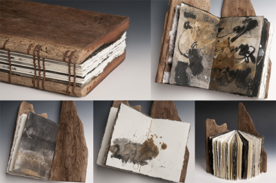 Mari Emily Bohley     Title: Palimpsest Sketches     Price: $845    Size: 5.1 x 3.2 	Medium: Driftwood, Coptic Binding, Mixed Media on Handmade Paper
